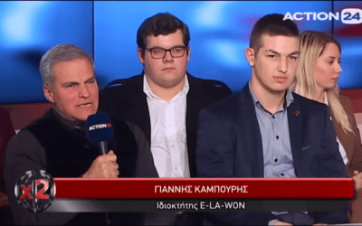 Giannis Kambouris in the X2 tv show of ACTION24